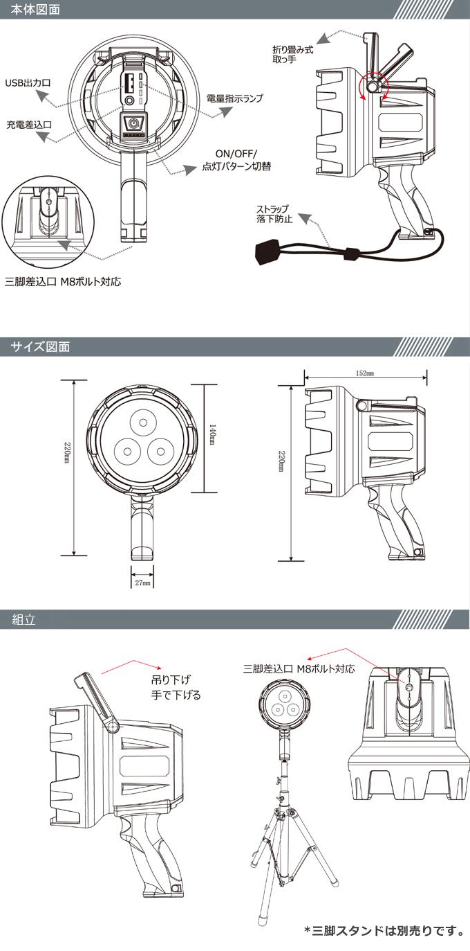 充電式 LEDサーチライト 15W 1500LM スポットライト 探照灯 登山 鉄道用照明 緊急レスキュー